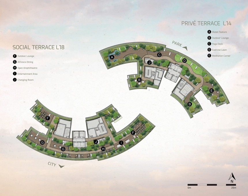 14th to 18th floor Layout , Facilities & Gardens