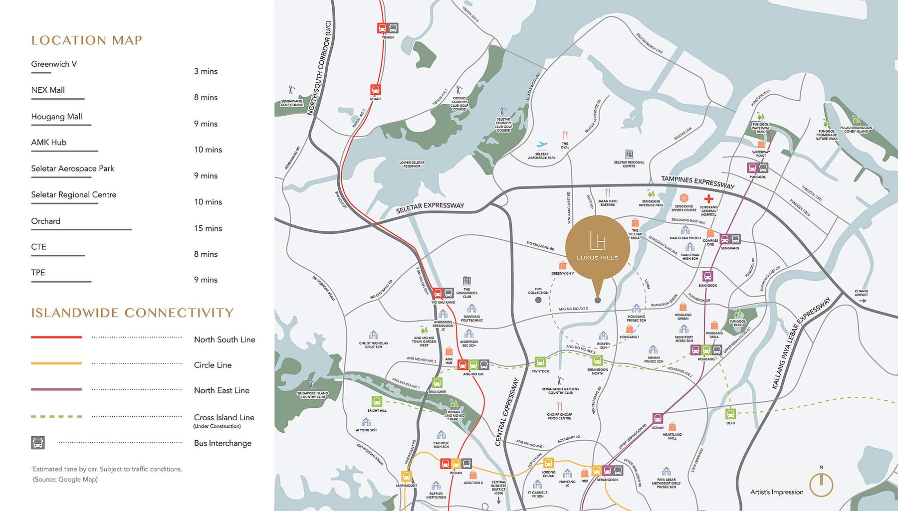 Location Map of Luxus Hills Contemporary Collection