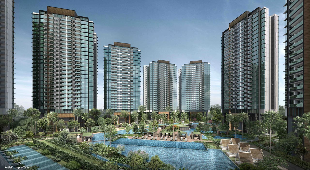 Overall view of Pools and Greennery at night, of Normanton Park Condo
