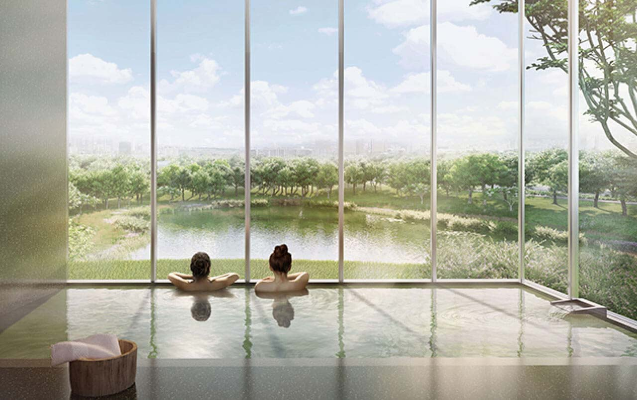 Indoor Onsen Pool with Infinity Family Lake View