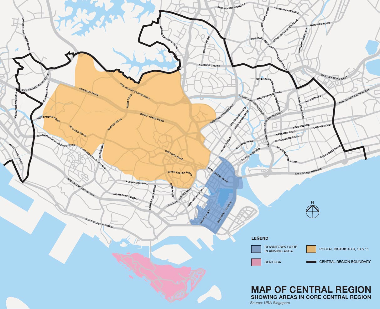 Map of Singapore Central Region