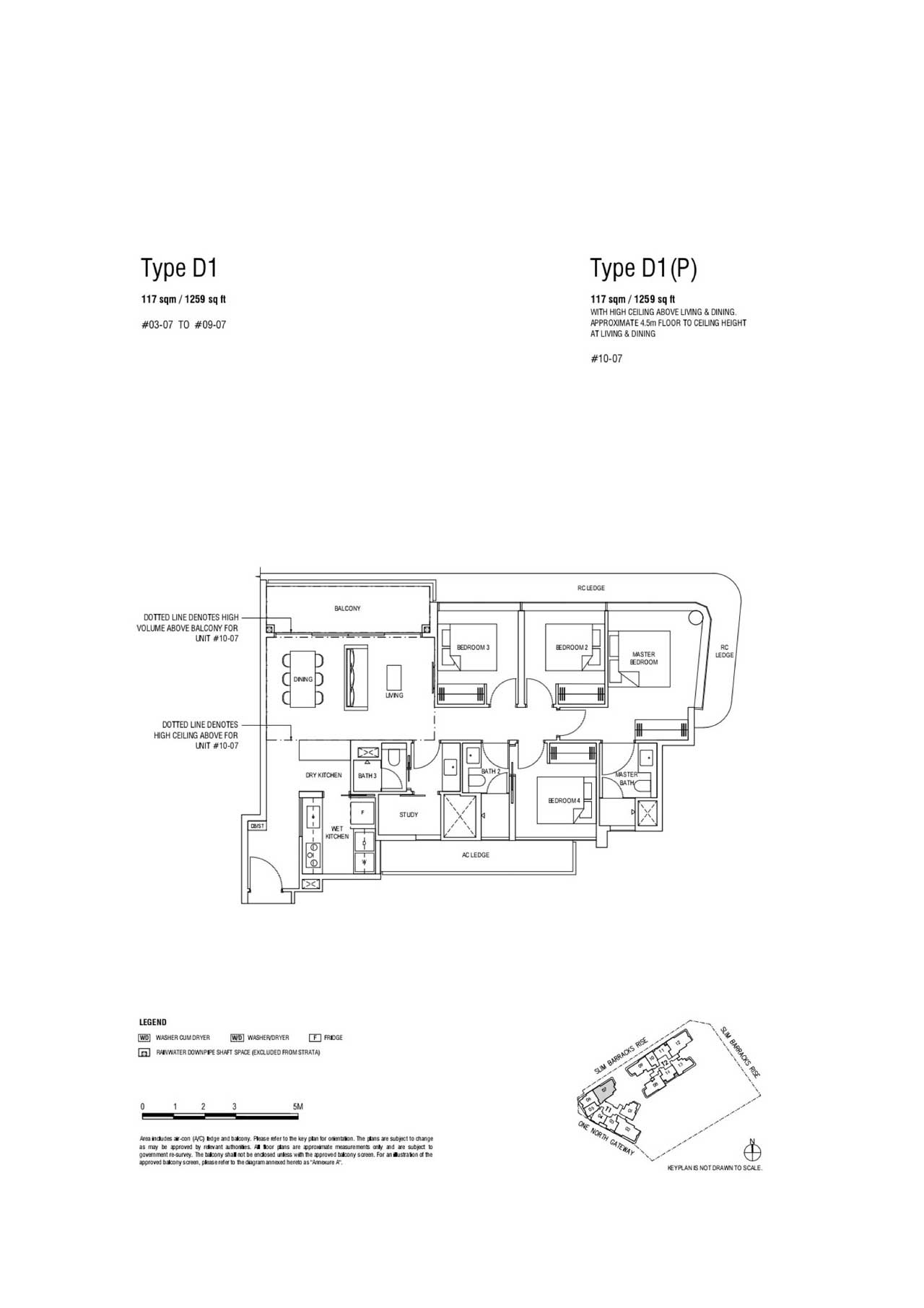 4Br Compact type D1 - One North Eden Floor Plan, Showflat Layout
