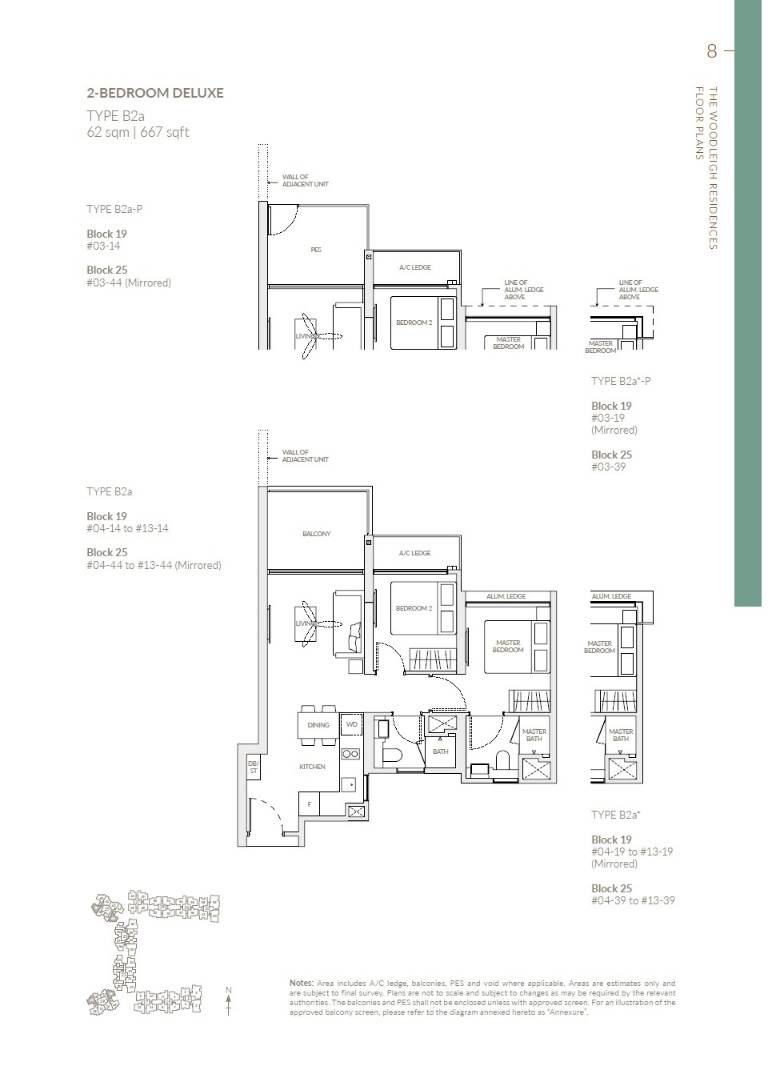The Woodleigh Residences Showflat Type B2a 62sq m : 667 sq ft